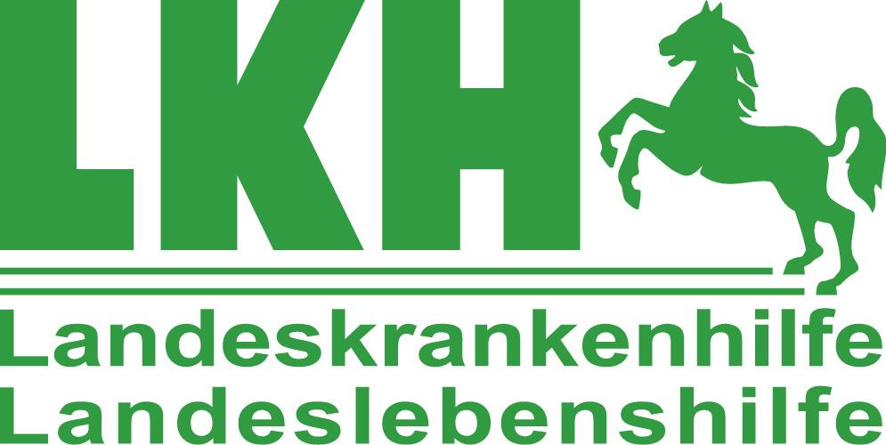 grüner Schrift auf weißem Hintergrund, neben der Schrift ein springendes Pferd: LKH - Landeskrankenhilfe/Landeslebenshilfe