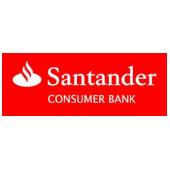 weiße Schrift auf rotem Hintergrund: Logo Santander Consumer Bank AG